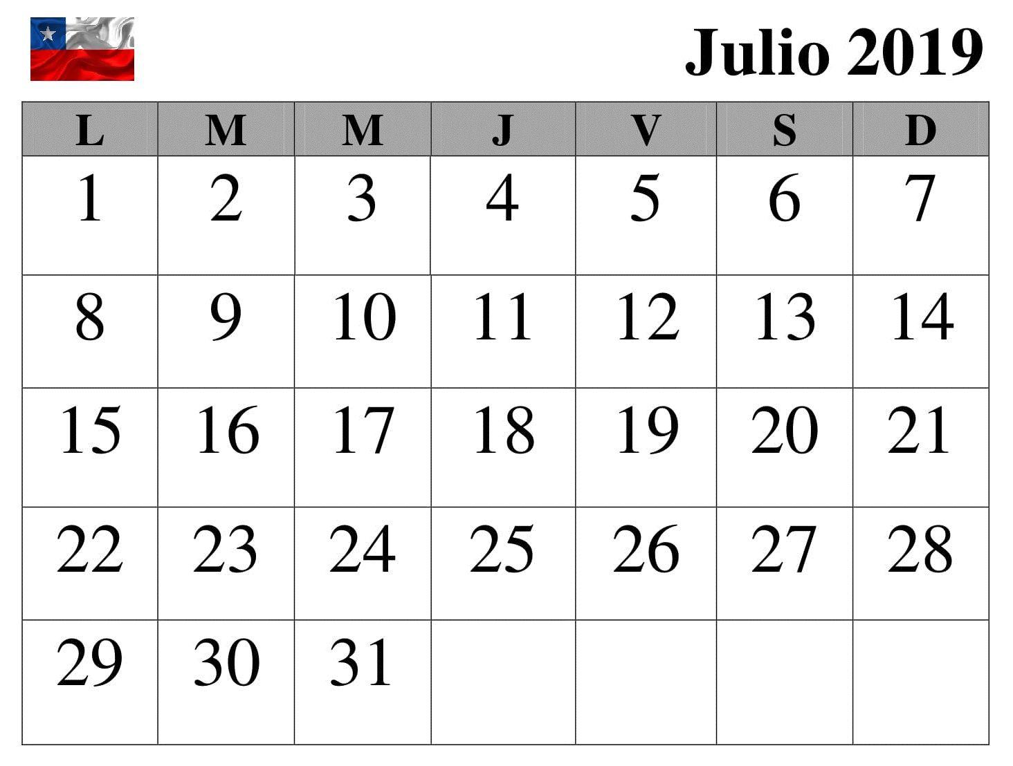 Julio Calendario 2019.Top 10 Punto Medio Noticias Calendario Mes Julio 2019 Excel