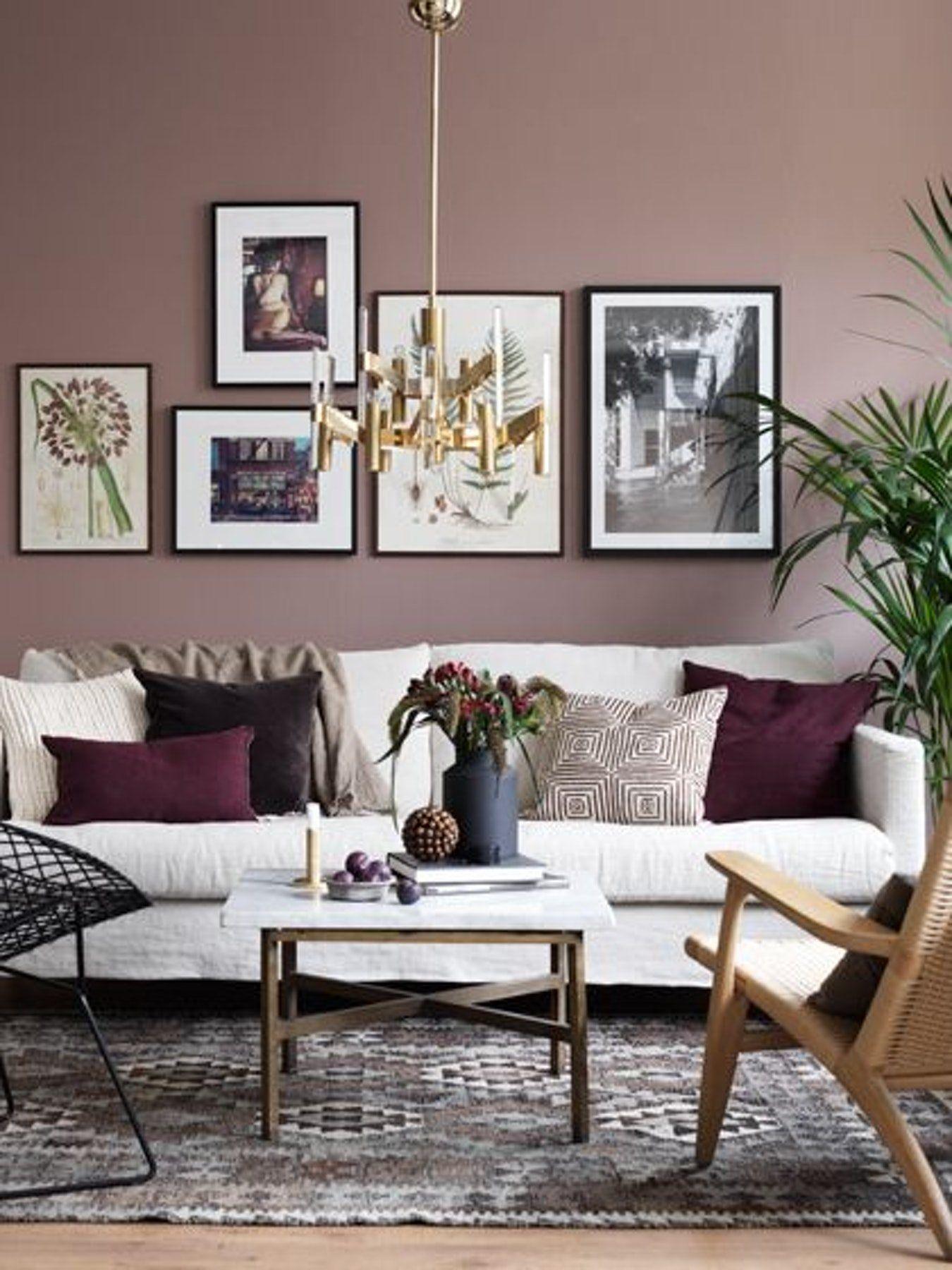 Living Room Color Schemes Burgundy Couch Framed Art Dusty Pink Design Ideas Pinterest Aubergine Decor Graceful