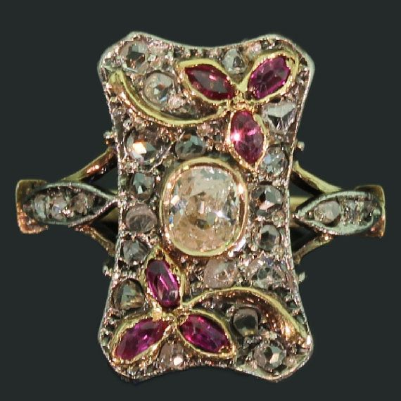 Antique Floral Ring Victorian Rose Cut by adinantiquejewellery, $4700.00