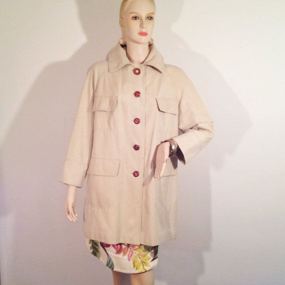 Sixties Trench Coat Khaki All Weather Refashioned by modernmatters, $45.00