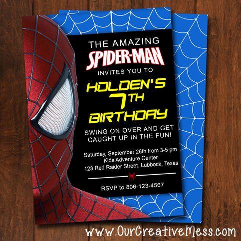 Spider Man Invitation Luv Bug Stuff Pinterest Spider Man