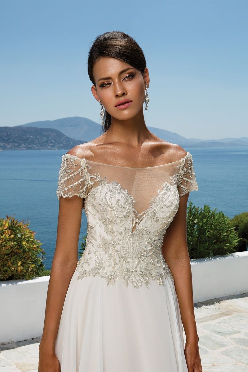Justin Alexander Beaded Illusion Off the Shoulder Chiffon Gown with ...