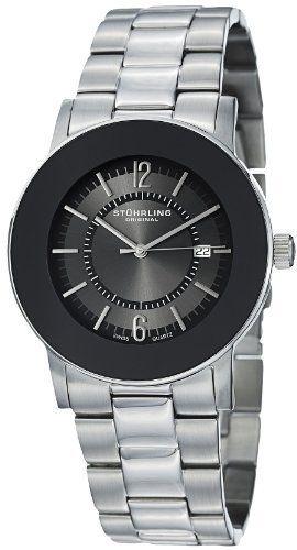 Stuhrling Original Men S 959g 33111 Classic Ascot Paramount Swiss Quartz Ultra Slim Date Black Bezel Watch Stuhrling Original Quartz Watch Quartz Silver Watch