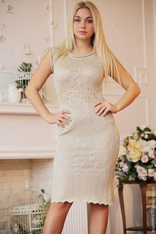 Купить платье вязаное ажурное платье