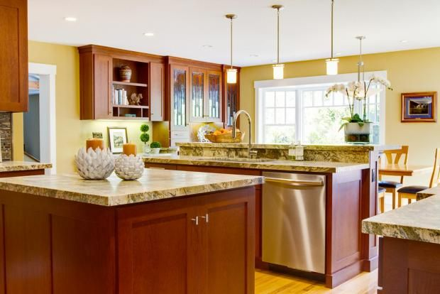 Yellow Kitchen Walnut Cabinets Craftsman Kitchen Kitchen Interior Modern Kitchen Design