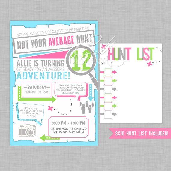 Scavenger hunt birthday invite including hunt by designsbycassiecm scavenger hunt birthday invite including hunt by designsbycassiecm filmwisefo Images