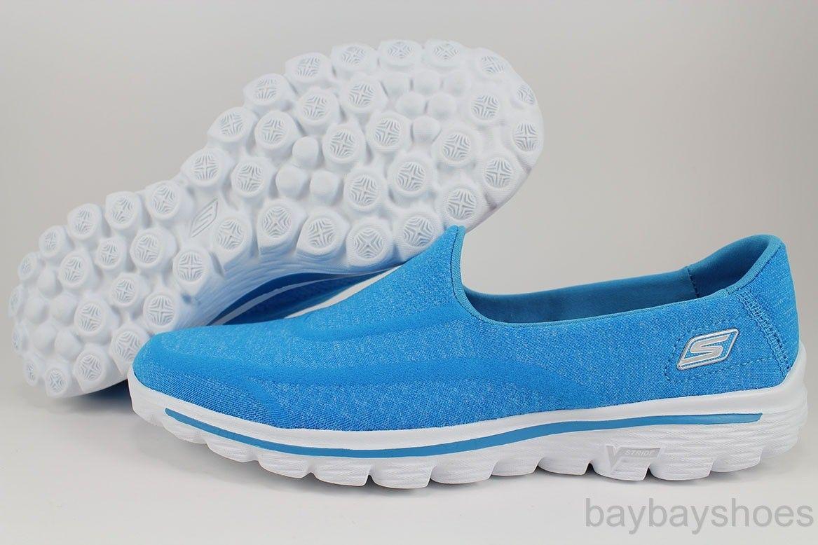 Skechers Gowalk Go Walk 2 Super Sock Turquoise Blue Slip on .
