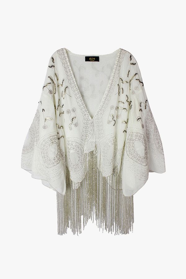 White Beaded Cardigan with Long Fringe Hem | Products | Pinterest ...