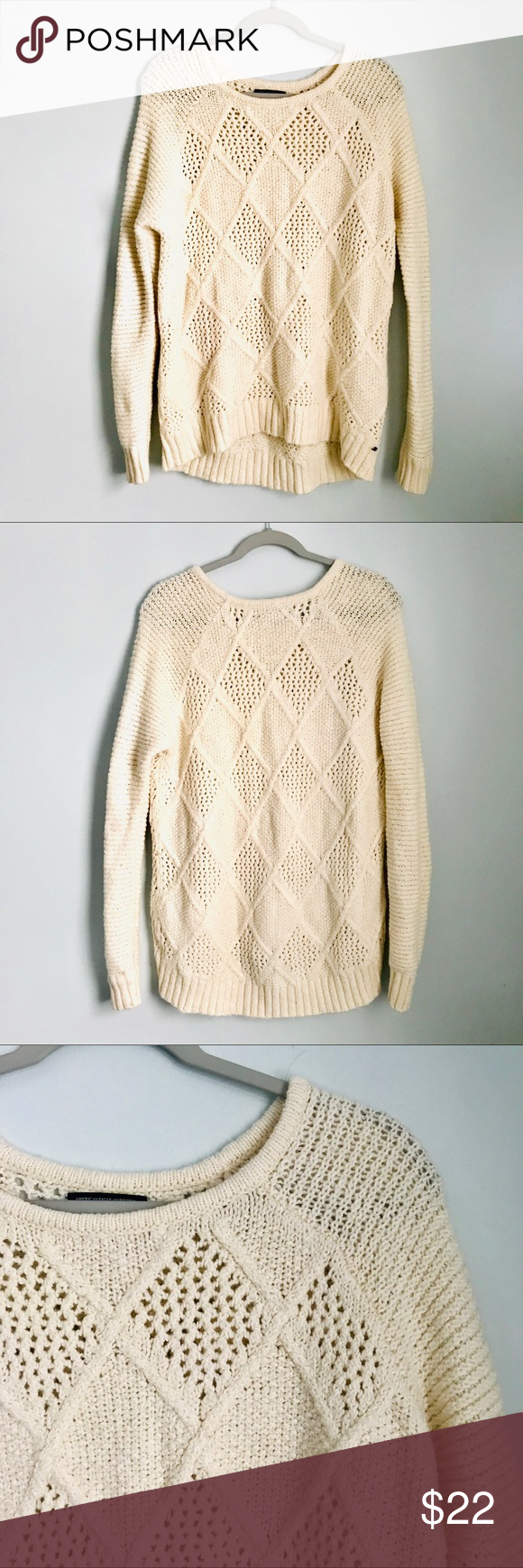 American Eagle Cream Cable Knit Crew Neck Sweater | Cable