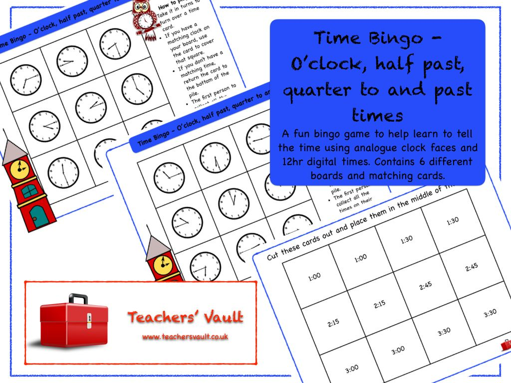 Time Bingo Oclock Half Past Quarter To And Past Times Ks1