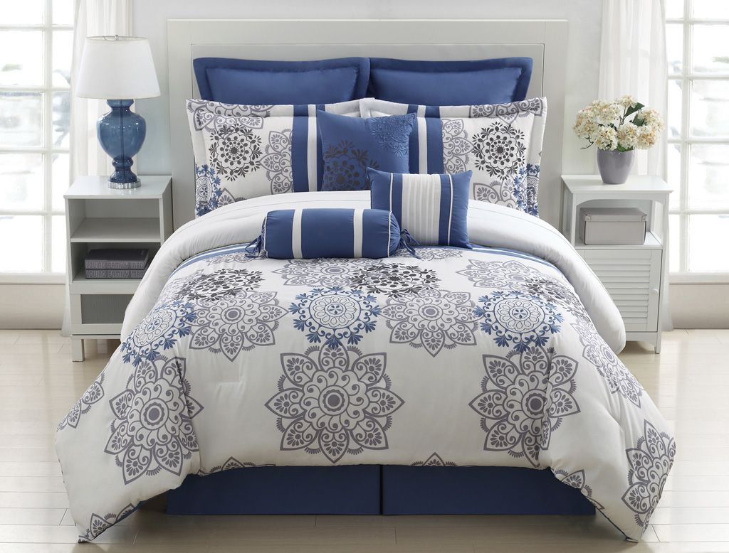 9 piece queen kasbah blue and gray comforter set grey for Best color bed sheets
