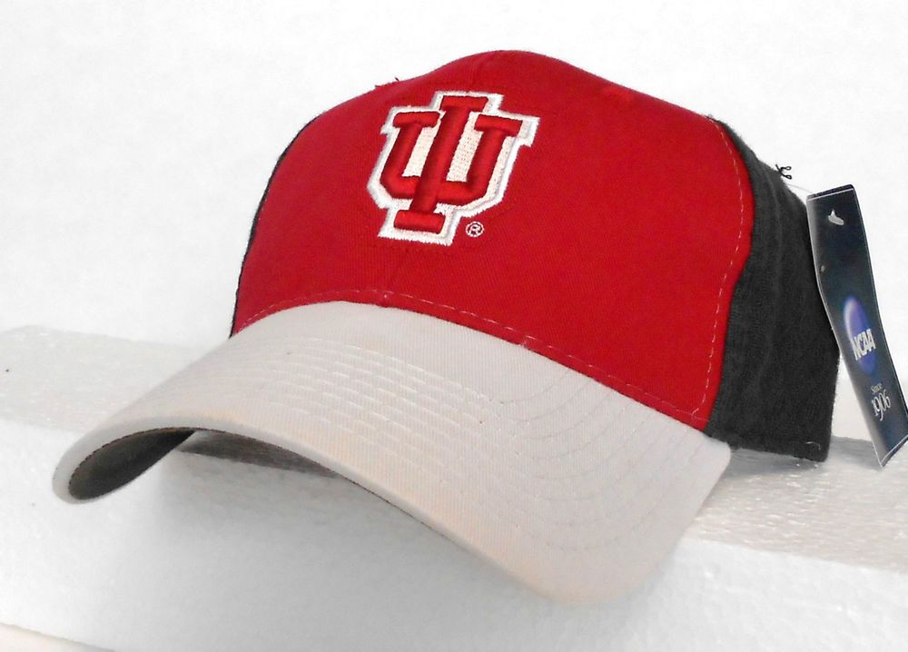 3fc5a2e2a80 new htf INDIANA HOOSIERS HAT Gray-White-Red 3-tone Curved-Bill Cap ...