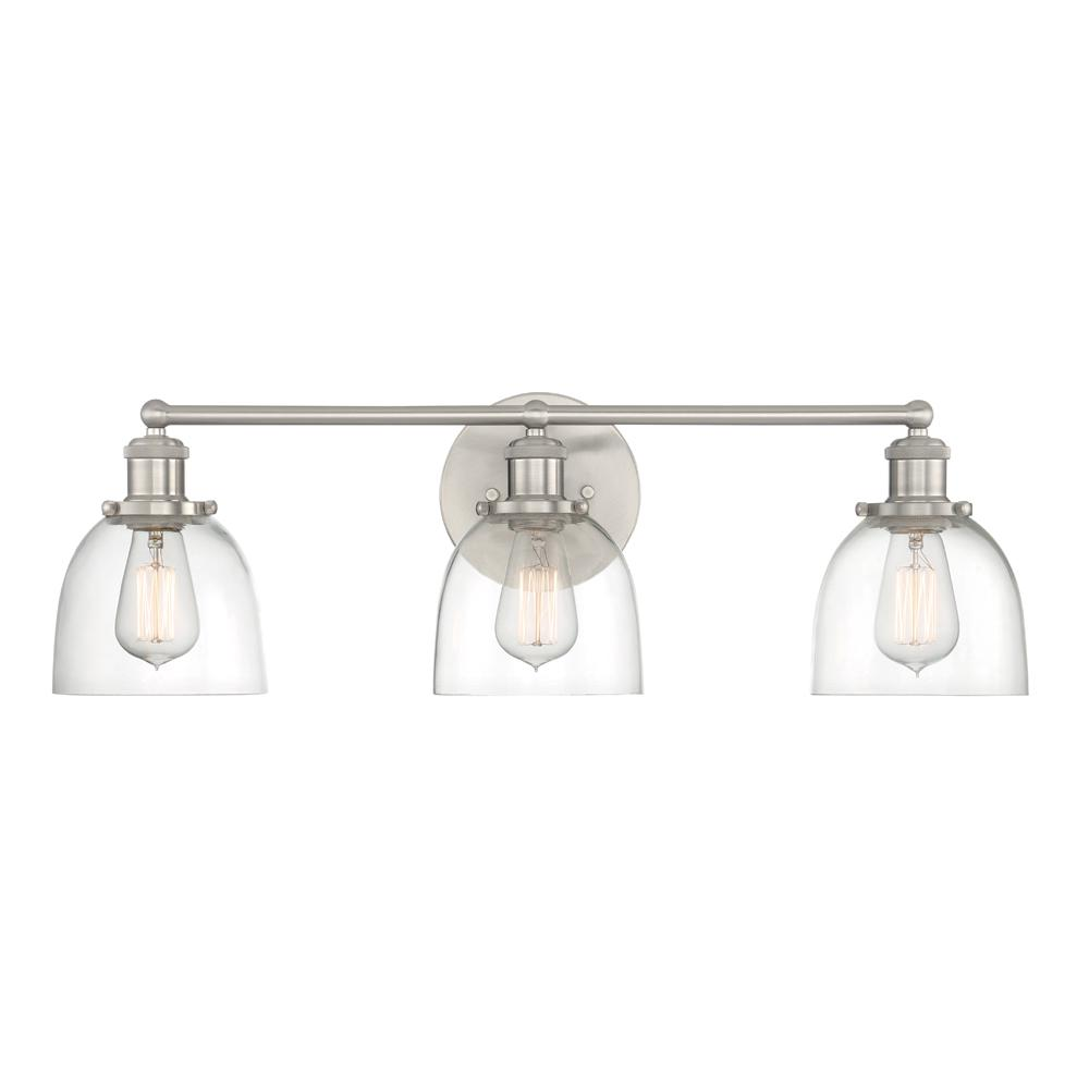 Cordelia Lighting 3 Light Brushed Nickel Vanity Light With Clear Glass Shades 2586 35 The Home Depot Farmhouse Bathroom Light Bathroom Light Fixtures Vanity Lighting
