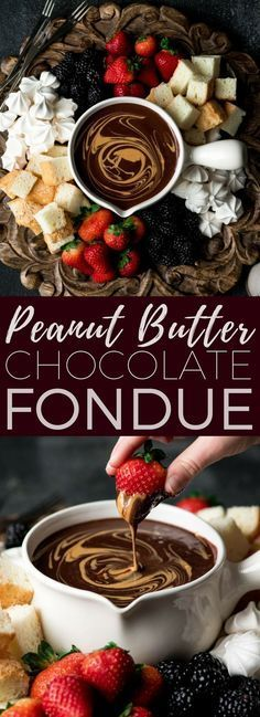 If chocolate & peanut butter is your love language, then you need to make this Dairy-Free Chocolate Peanut Butter Fondue recipe! It's the perfect desert for Valentine's Day or to serve at a Galentine's Day Brunch! #vegan #glutenfree #dairyfree #chocolate #peanutbutter #fondue #dessert #fonduerecipes