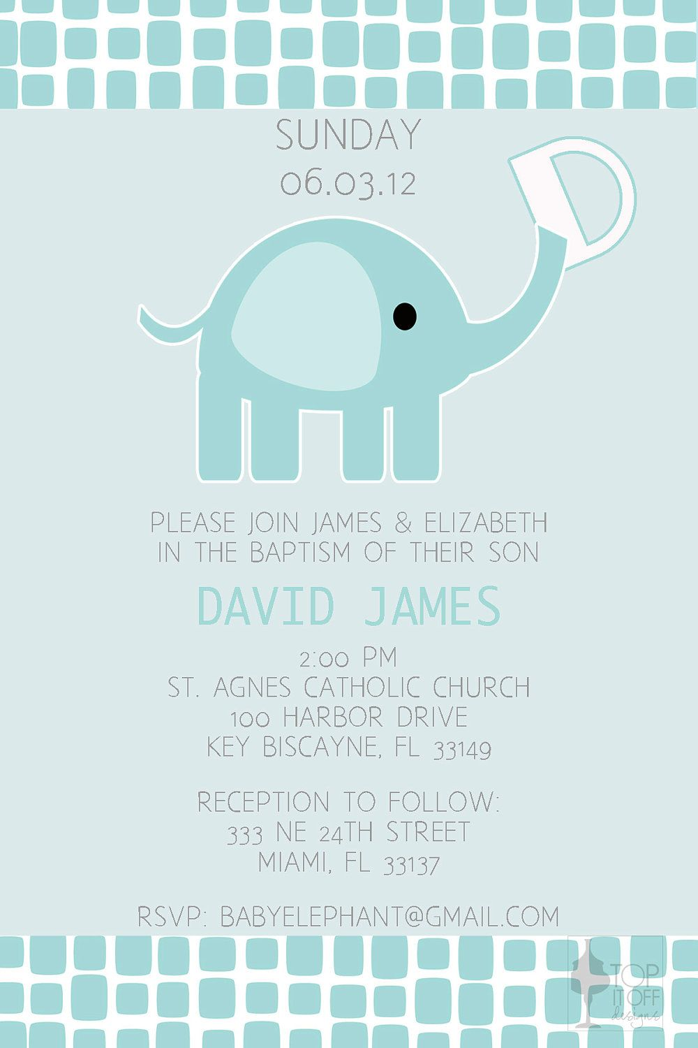 Baby Elephant Baptism Invitation - DIGITAL - DIY. $12.00, via Etsy ...
