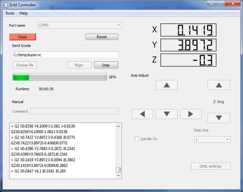 Grbl Controller is a free software which is used to send GCode to