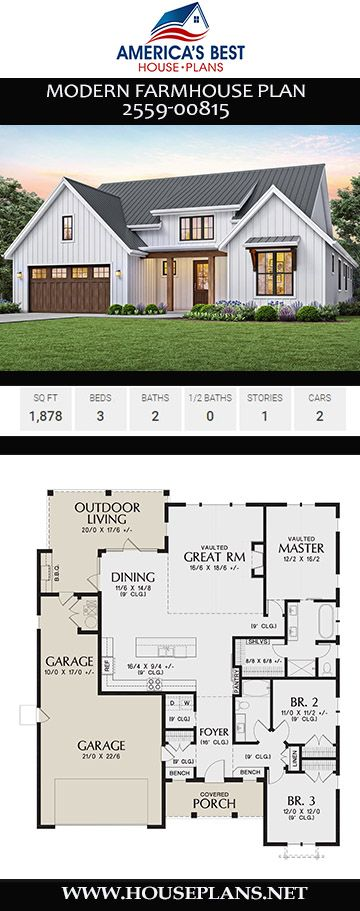 House Plan 2559 00815 Modern Farmhouse Plan 1 878 Square Feet 3 Bedrooms 2 Bathrooms Modern Farmhouse Plans House Plans Farmhouse Farmhouse Plans