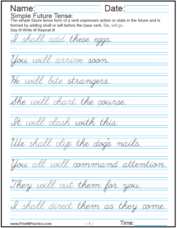 Easy Sentences In English Past Present And Future – Cursive Sentences Worksheets