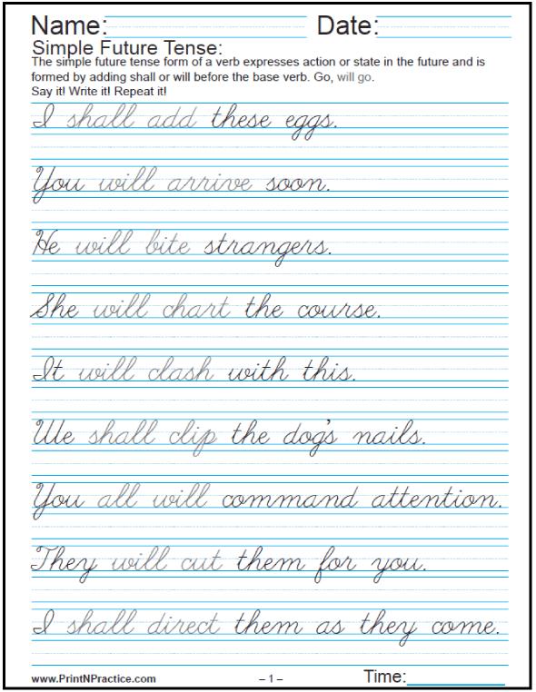 Easy Sentences In English: Past, Present, And Future   Cursive ...