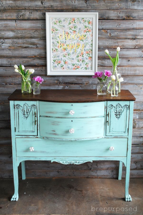 Chalky Finish Mint And Floral Buffet | Chalky Finish | Pinterest | Furniture,  Home Decor And Home