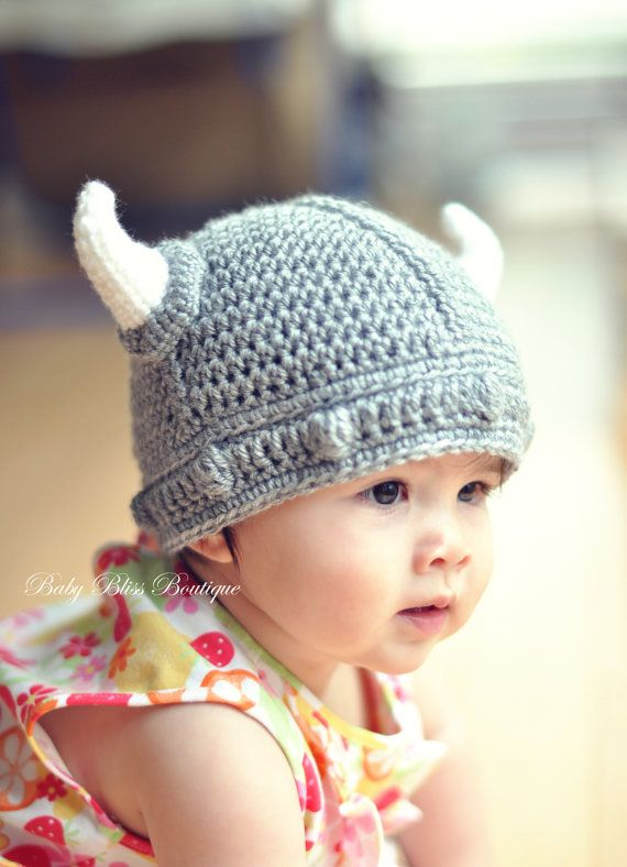 The Viking Hat 12m To 24m Gray Color Viking Hat With White Horns