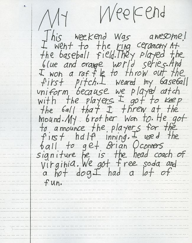 Nd Grade Writing Sample  Image  Kids Learning