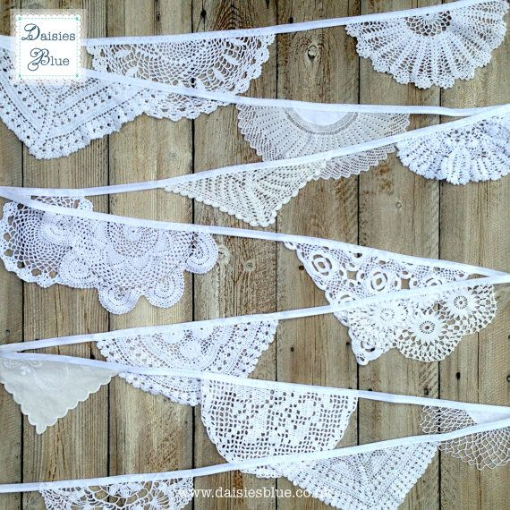 White Doily Bunting Wedding Repeat Pattern by DaisiesBlueShop