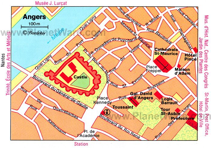 map of ANGERS FRANCE go see Cathedral of St Maurice Loire