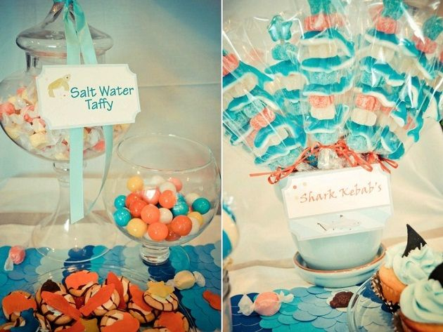 shark party - Salt Water Taffy & gummy shark skewers