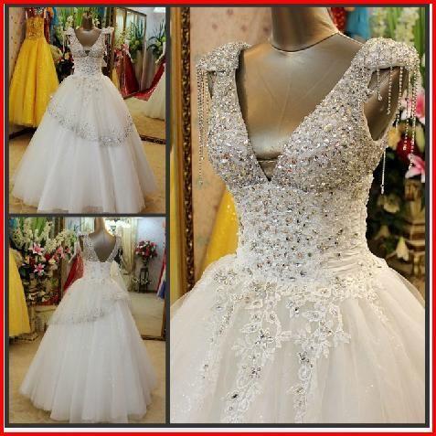 f1081ae77d1a Low Cut Swarovski Crystals Bridal Wedding Dress XXVF from YZ Fashion    Bridal  sexy  bride  wedding  love