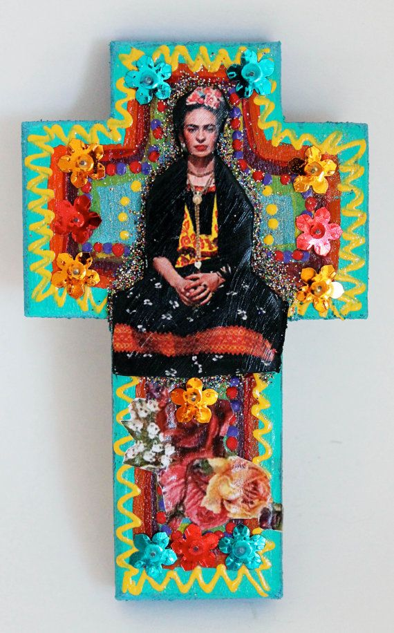 frida kahlo on colorful wooden cross roygbiv day of the dead one of a kind art summer. Black Bedroom Furniture Sets. Home Design Ideas