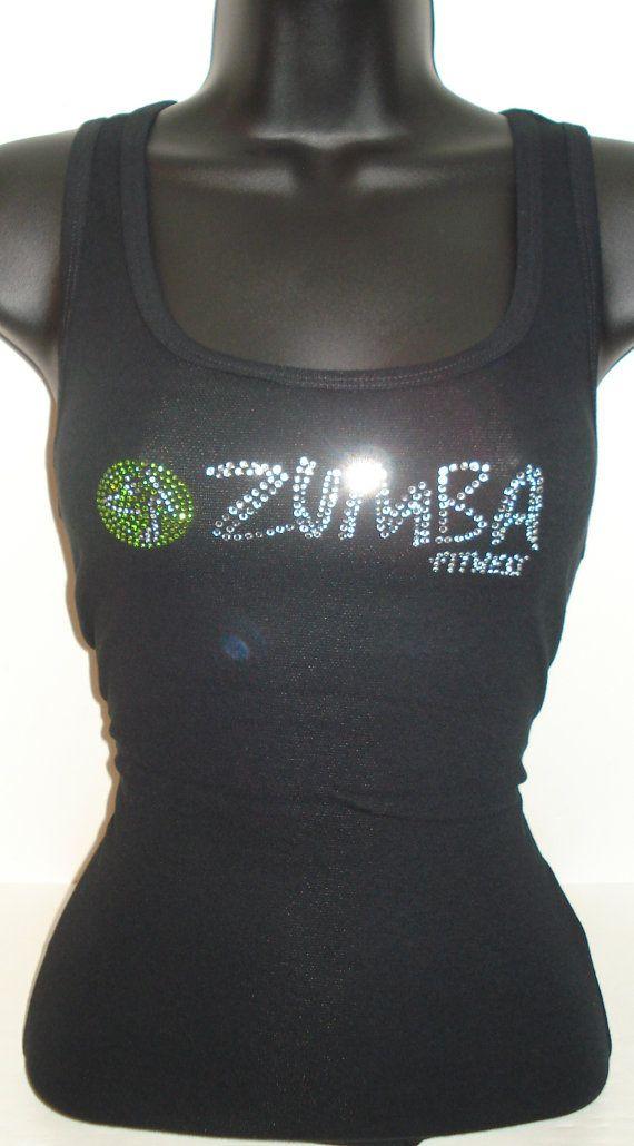 ZUMBA crystal bling tee skinny tank S M L Bella by sheshesheshe, $31.00