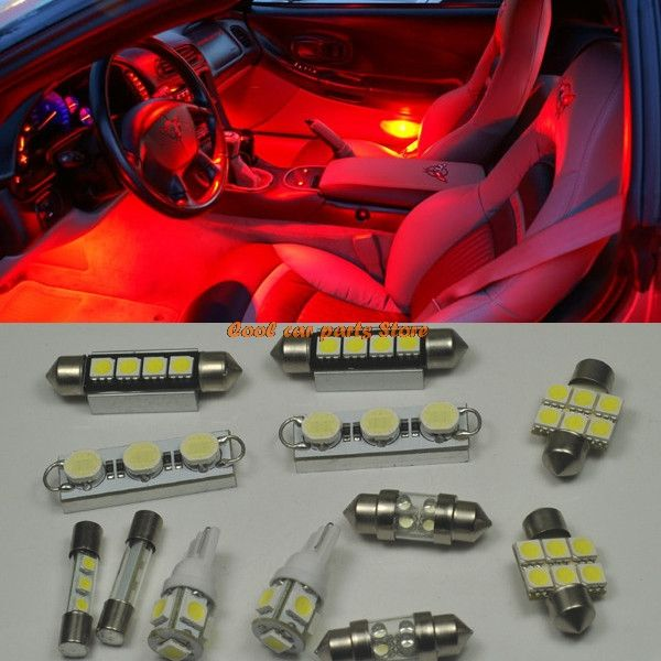 12pcs Bright Red Smd Led Interior Light Package Kit For 2012 2014