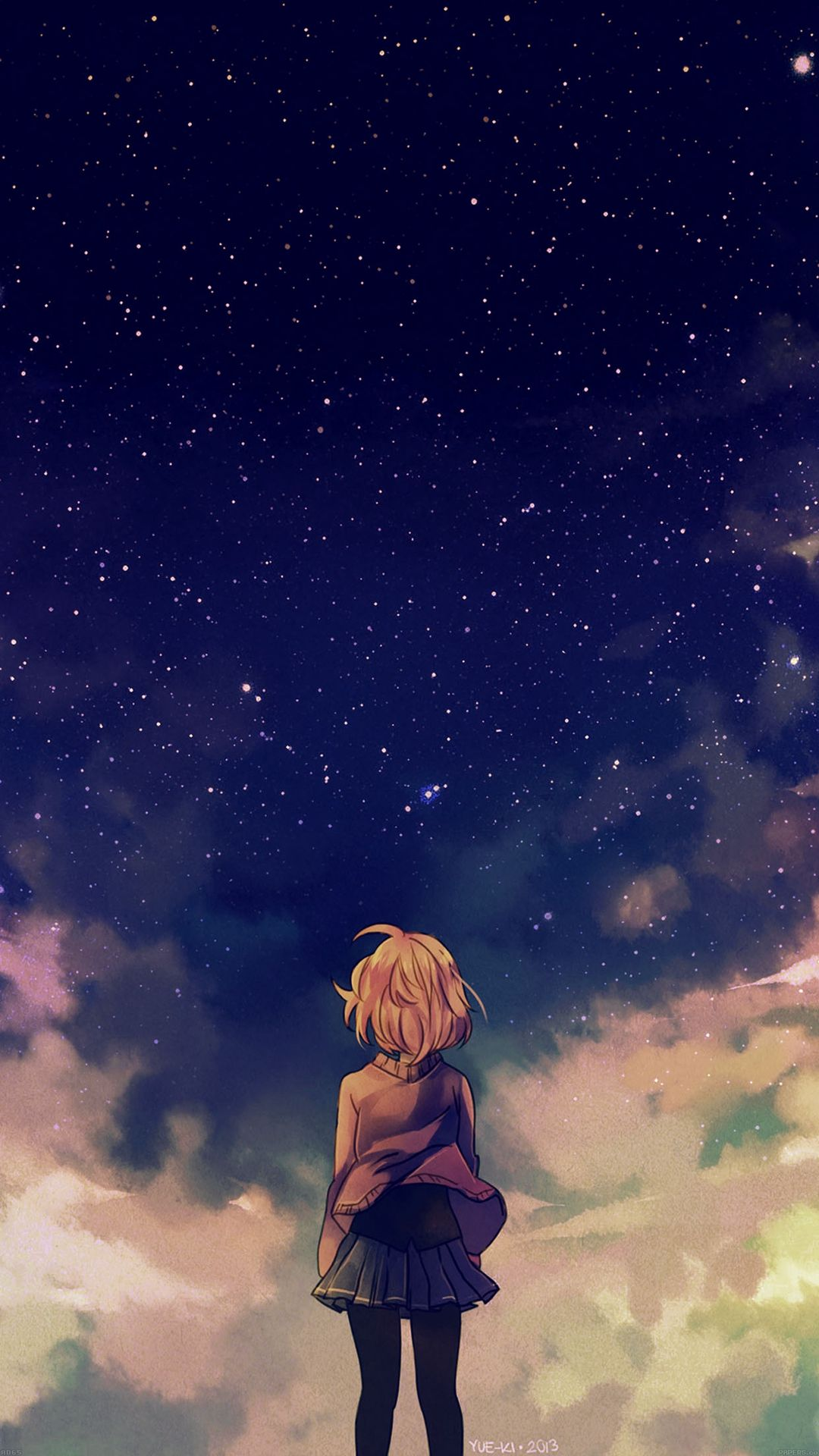 Starry Space Illust Anime Girl Iphone  Wallpaper