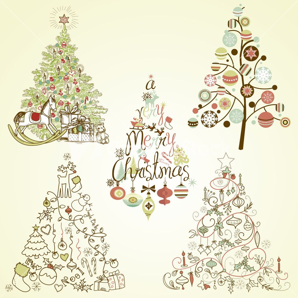 Christmas Tree Collection. Vintage Stock Image