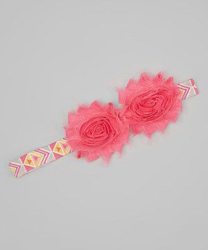 Look what I found on #zulily! Dun Up Designs Pink Tribal Double Shabby Flower Headband by Dun Up Designs #zulilyfinds