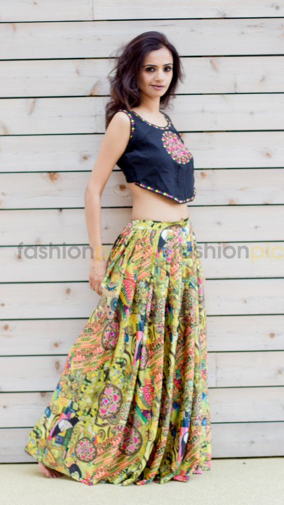 769b4e1652e04 You will feel like a princess when you walk in this lovely silk pleated  skirt and matching crop top.This digital printed Egyptian themed fine crepe  silk ...