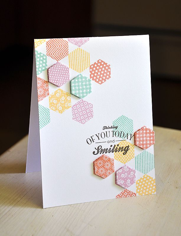 these little hexagons are stamped but could be punched from some lovely papers. I really like the occasional raised bit.