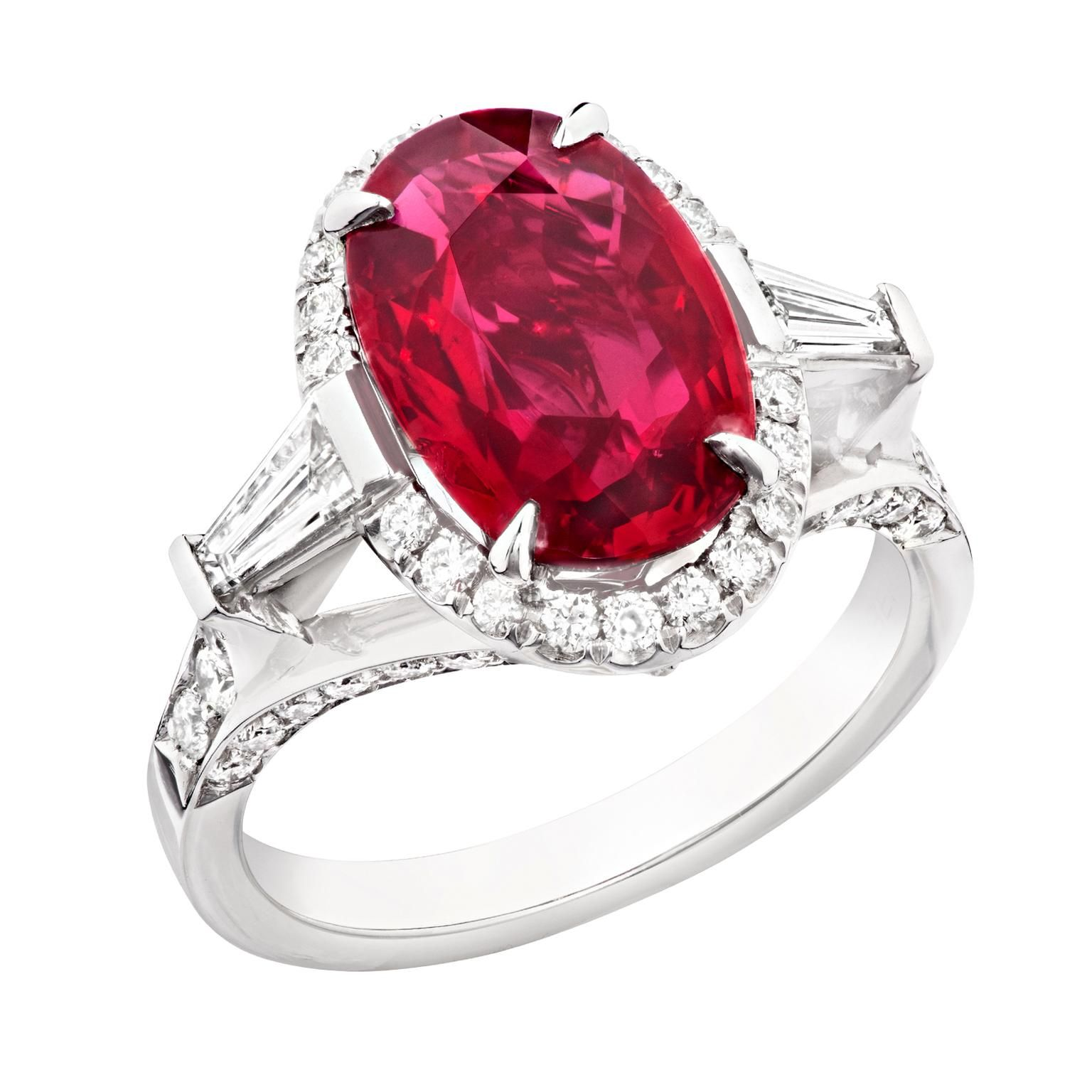 Fabergé Oval Cut 4 02 Carat Ruby Engagement Ring Set In Platinum With White Diamonds