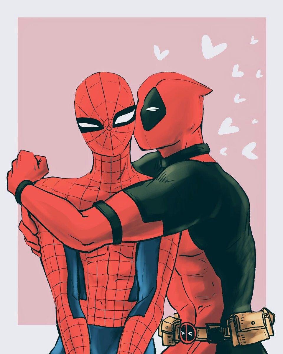 Картинки дэдпул и человек паук любовь