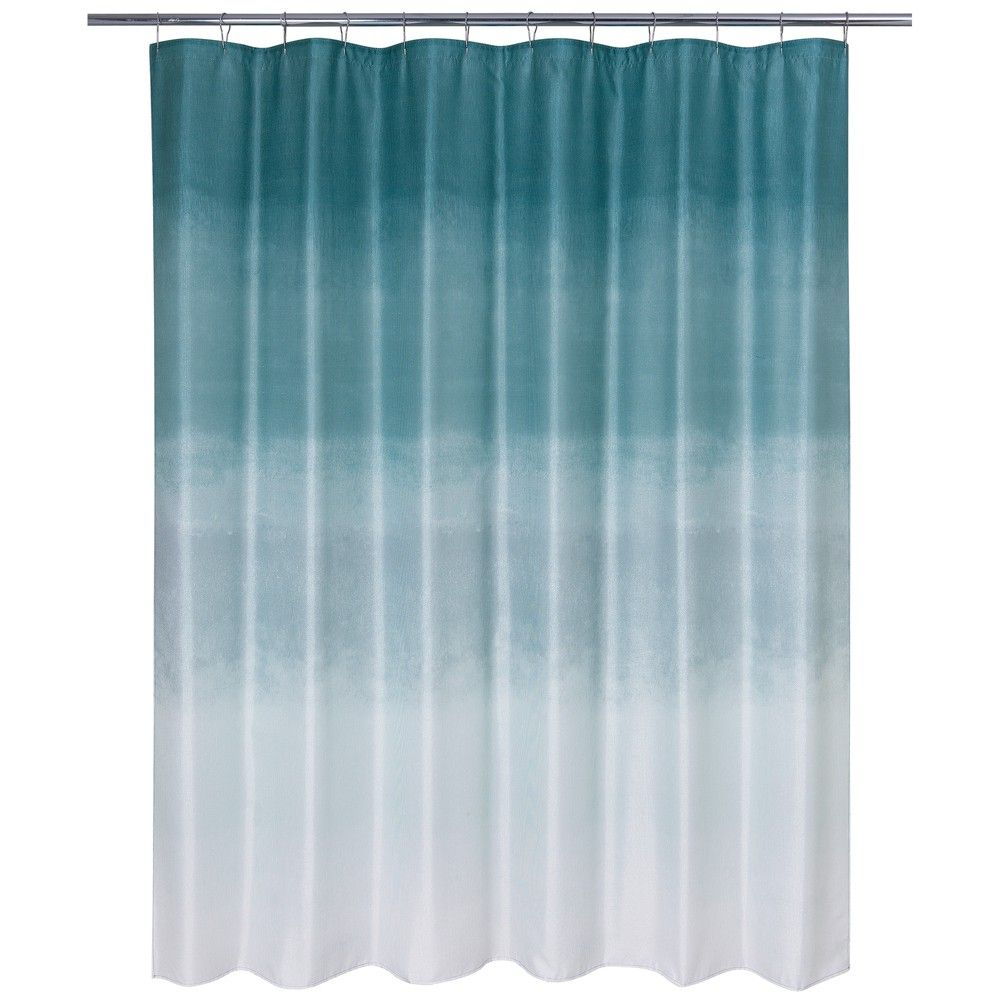 Metallic Ombre Glimmer Shower Curtain Blue Teal Allure Home