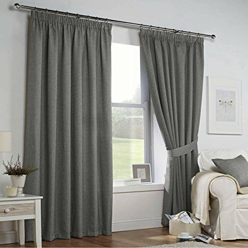 LINEN Look Fully Lined Curtains In Gorgeous Pale DOVE GREY