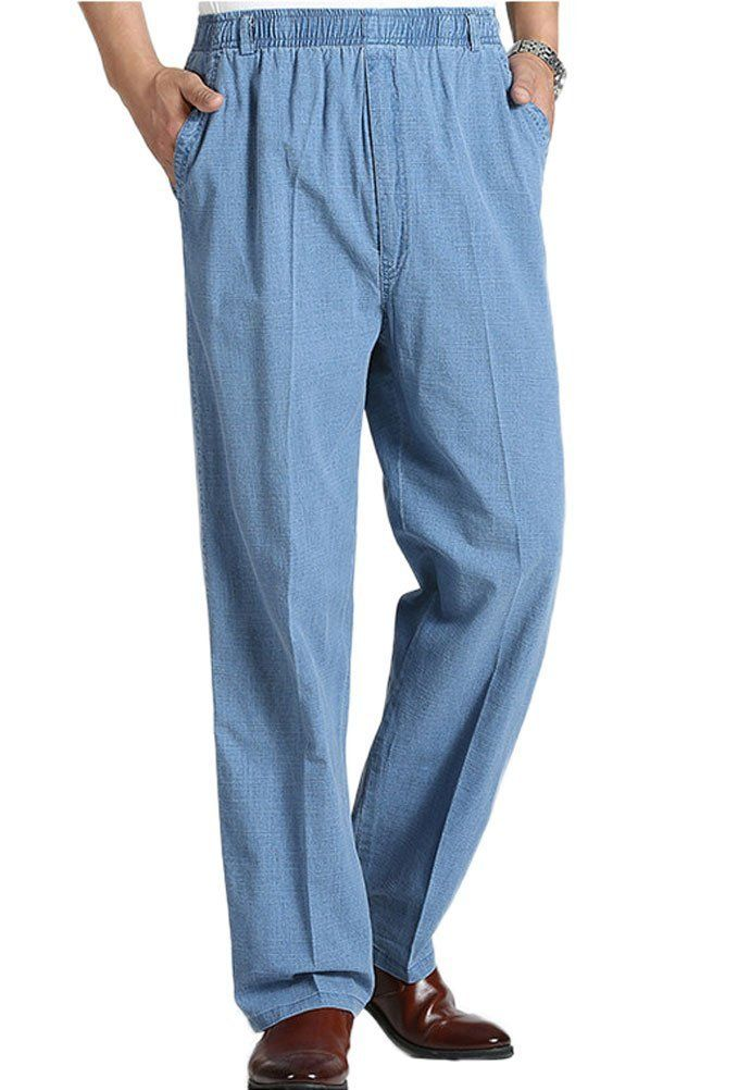 1f63e383b08 Soojun Mens Seniors Solid Loose Fit Elastic Casual Pants Denim Blue XLarge     Continue to the product at the image link.-It is an affiliate link to  Amazon.