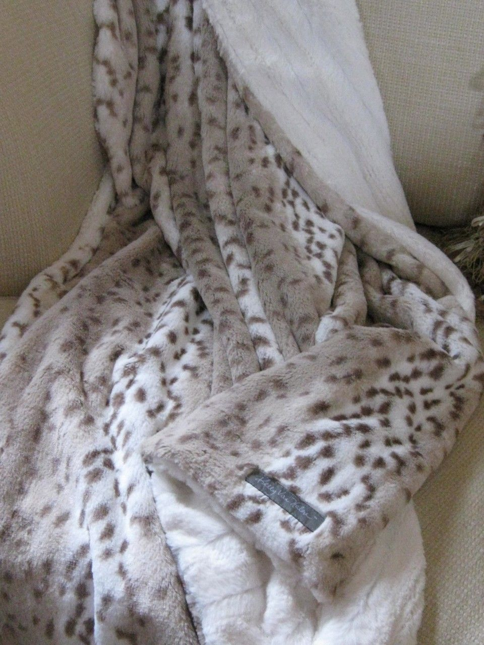 Faux Fur Snow Leopard Ivory Minky Reversible Jr Throw