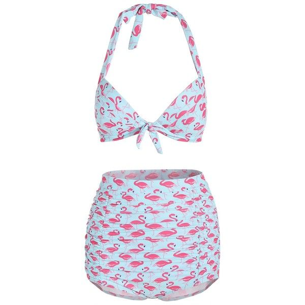 High Waisted Halter Swan Print Bikini (55 TND) ❤ liked on Polyvore featuring swimwear, bikinis, halter bikini, high rise bikini, patterned bikini, high waisted bikini and halter-neck bikinis