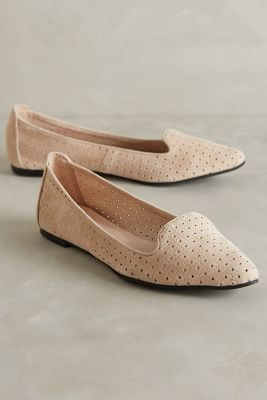 All Black Perforated Suede Loafers Pink Flats  #anthrofave #anthropologie