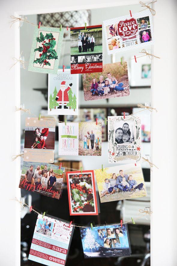 Easy and Inexpensive Christmas Card Display   Card displays, Display ...