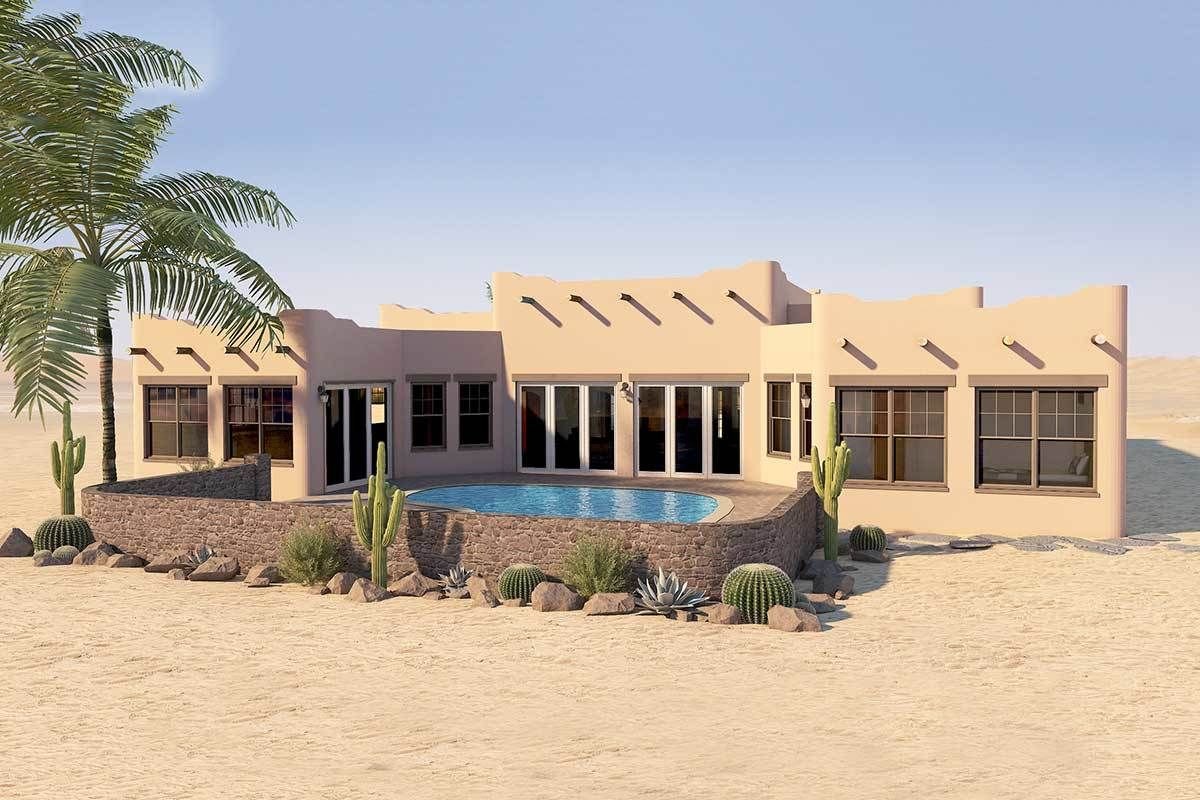 Plan 6793mg Adobe Style House Plan With Icf Walls Pueblo Style House Icf Walls House Plans