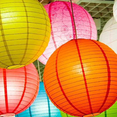 Who knew?  White paper lanterns (from IKEA) spray painted with Krylon Acrylic Crystal Color paint.