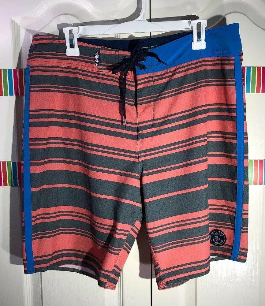 4c8bd5833f SALT LIFE Men's Board Shorts SLX-QD Vapor Stretch SIZE 34 Coral Gray  Stripes   eBay
